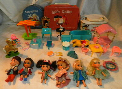 Lot of 1960's Mattel Liddle Kiddle Dolls and Accessories - 6 dolls + 3 cases +