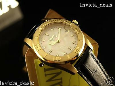 Invicta Mens Pro Diver Collection Swiss Mvmnt MOP Dial SS Blk Leather Watch