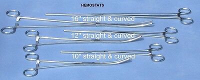 New 6pc Set  Straight + Curved Hemostat Forceps Locking Clamps Stainless