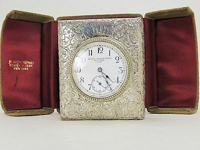 Antique Black,Starr & Frost Travel Clock Sterling Silver In Case