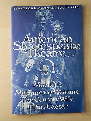June 1973 - Shakespeare Theatre Playbill w/Ticket - Measure For Measure