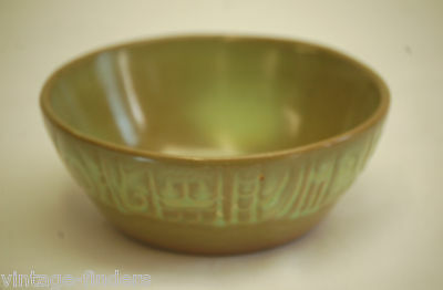 """Old Vintage Mayan~Aztec Prairie Green by Frankoma 5-1/4"""" Coupe Cereal Bowl ~ 7X"""