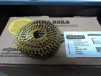 """CW3D083RG Coil Nails 1 1/4"""" Ring Shank 15 Degree Galvanized Nails (3,500)"""