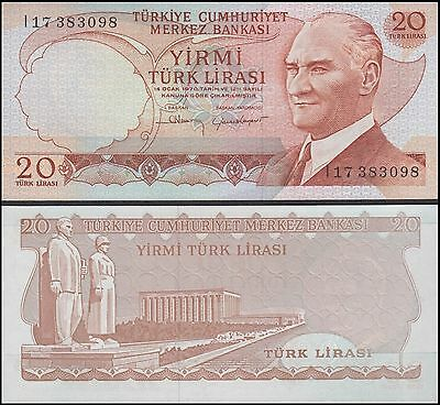 Turkey 20 Lira, 1970-1974, P-187b, UNC