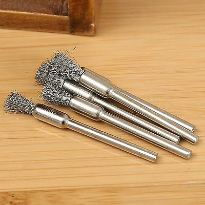 "5mm Steel Wire Wheel Pencil Brush 3.17"" Shank Rotary Tool For Grinder Drill 5PCS"