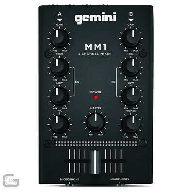 """Gemini MM1 Compact 2 Channel 6.5"""" DJ RCA Stereo Mixer With 2 Band EQ Cross Fader"""