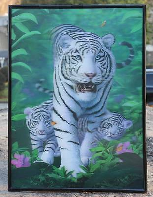 4D vivid clear white tiger Lenticular Painting Wall Decor Photo Image