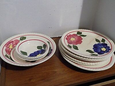 Set of 14 Southern Potteries Blue Ridge plates/bowls/cups