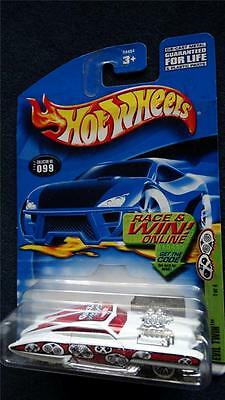 Hot Wheels 2002 Grave Rave Evil Twin Red & White Silver 1/4 Collector# 099