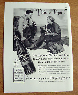 1937 Hires Root Beer Ad This is Tops! Hiking Hikers