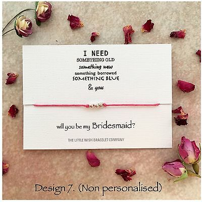 Will you be my Bridesmaid? Wish bracelet, Chief, Flower Girl, Maid of Honour etc