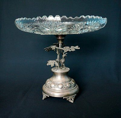 Antique Art Nouveau Silver & Crystal Compote Centerpiece Hunt Stag Germany 1900