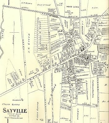 Bayport Sayville Islip NY 1873  Maps with Homeowners Names Shown