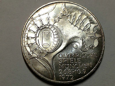 Germany 1972 Unc Silver 10 Marks  Beautiful Coin