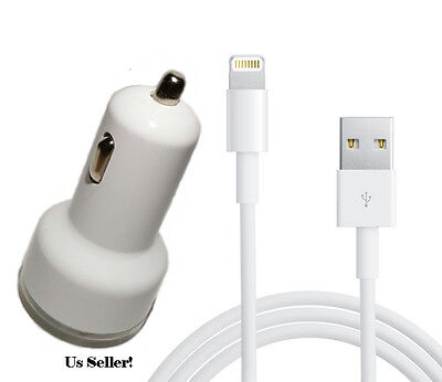 White Dual Port Auto Car Charger with 8-pin Cable Cord for iPhone 7 6s 6 5s 5 5c