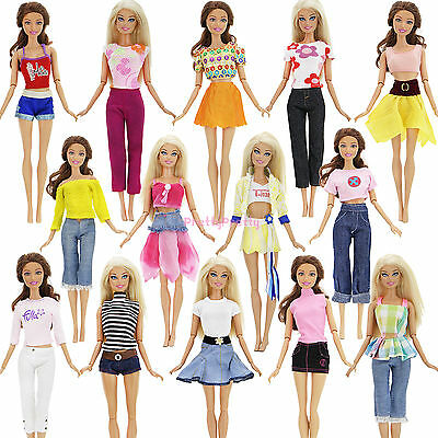 Fashion 5 Set Outfits Blouse Skirt Trousers Pants Casual Clothes For 12 in. Doll