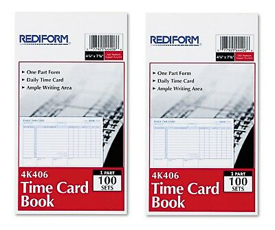 Rediform Employee Time Card Daily Two Sided 4-1/4 x 7 - 100 Pad RED4K406
