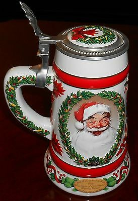 1992 Ceramarte ROCKWELL'S JOLLY SANTA Norman Rockwell CHRISTMAS STEIN