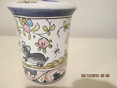 Hand Painted Toothbrush Holder With Bunny From Portugal