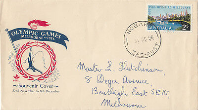 Stamp Australia 2/- Olympic Games on Royal FDC diver red & blue colours