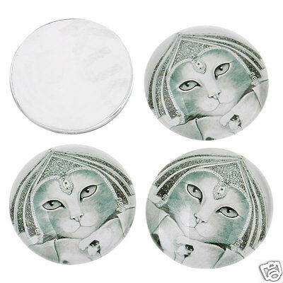 10 Egyptian Cat Face Round Glass Cabochons Jewellery Making 25mm (030)