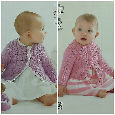 KNITTING PATTERN Baby Long Sleeve Cable Coat & Cardigan CottonAran KingCole 4136