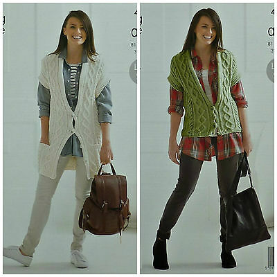 KNITTING PATTERN Ladies Sleeveless Cable Waistcoat Aran King Cole 4141