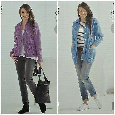 KNITTING PATTERN Ladies Cable Cardigan and Long Cable Jacket Pockets Aran 4142