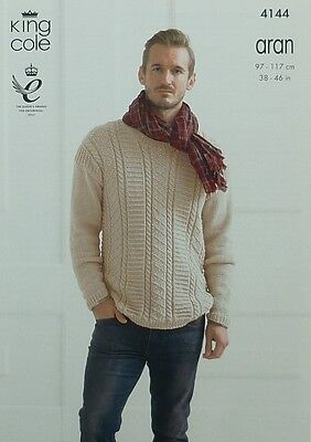 KNITTING PATTERN Mens Long Sleeve Textured and Cable Jumper Aran King Cole 4144