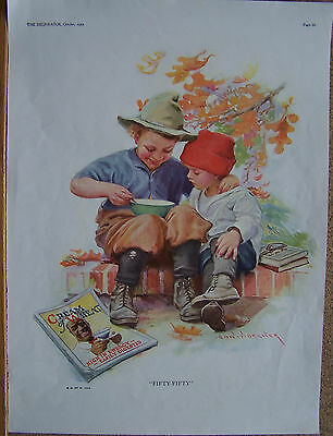 """CREAM OF WHEAT AD 10""""X14"""" 1923 """"FIFTY-FIFTY"""" EDWARD BREWER"""
