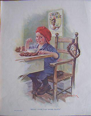 """Cream Of Wheat Ad 10""""x12.5""""1923 """"right Over The Home Plate""""   Edward Brewer"""