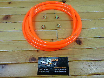 "Electric Orange 1/4"" Fuel Line Kit For Snowmobile Dirt Bike Atv Mower Motorcycle"
