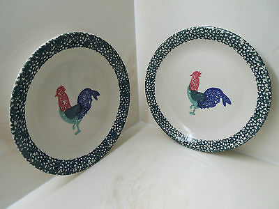 Thomson Pottery Rooster Plates Set of 2 Green Hand Painted Chicken Dessert Salad