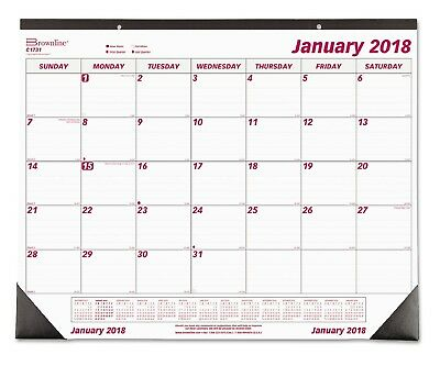 """House of Doolittle 2018 Monthly Calendar 17"""" x 22"""" Desk Pad w/Notes Section"""