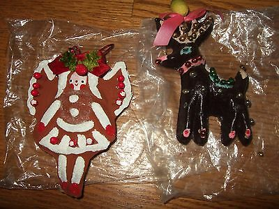 lot vintage primitive christmas ornament paper mache beads reindeer gingerbread