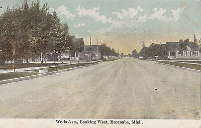 Printed Litho Wells Ave. Looking West Escanaba Michigan Posted 1914 To Ontario