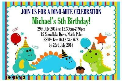 20 X DINOSAURS CHILDRENS BIRTHDAY PARTY PERSONALISED INVITATIONS FREE MAGNETS