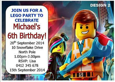 20 X LEGO BOYS PERSONALISED CHILDRENS BIRTHDAY PARTY INVITATIONS FREE MAGNETS
