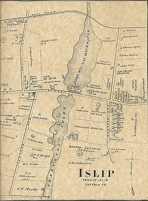 Islip Long Island NY 1873 Maps with Homeowners Shown