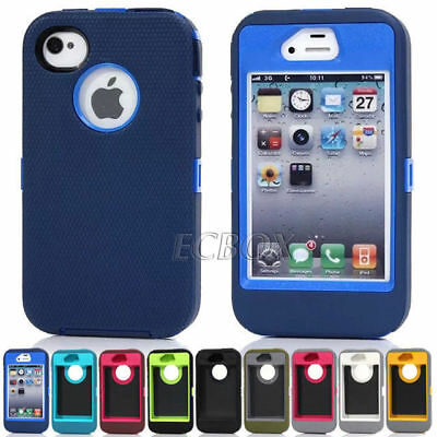 Dual Layers Combo Heavy Duty Hybrid Rugged Case Cover For iPhone 4 5 6 7 Plus