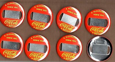Vintage Coca Cola Lot of 8 Server Button Pin Name Tag Badge Yellow on Red 1960's