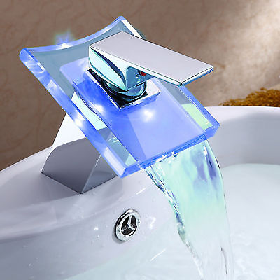 CA HOT LED 3 COLOR CHANGING WATERFALL SINGLE HANDLE BATHROOM BASIN FAUCET