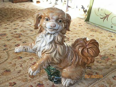 Vintage Large Heavy Pottery Spaniel Dog Statue Figurine 2 of 2 available pieces