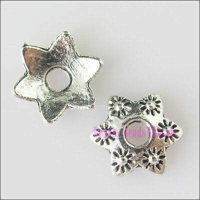 70Pcs New Silver Tone Flower 6Leaf Bead End Caps for DIY Crafts 10mm