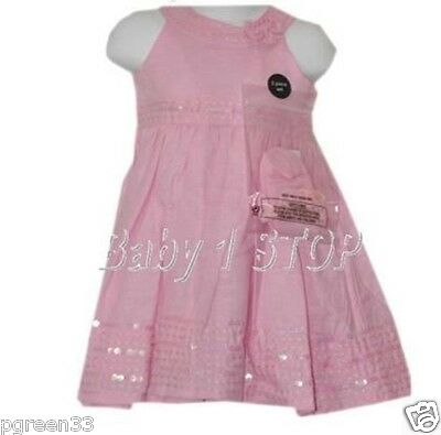 Pink Cotton Dress & Socks & Headband Set 9-12 Months
