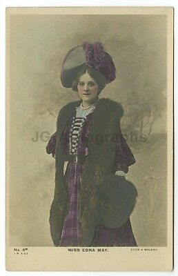Edna May - American Stage Actress & Singer - Vintage Silver Print Postcard