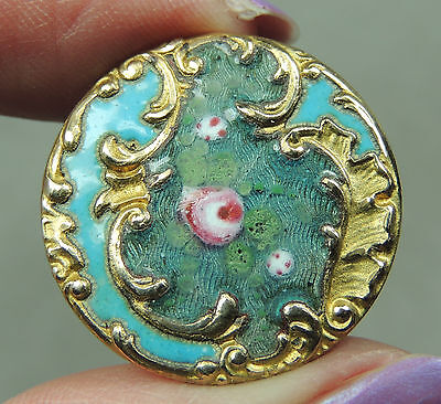 ENAMEL & BRASS FLORAL BUTTON W/ CUT STEELS ~ METAL