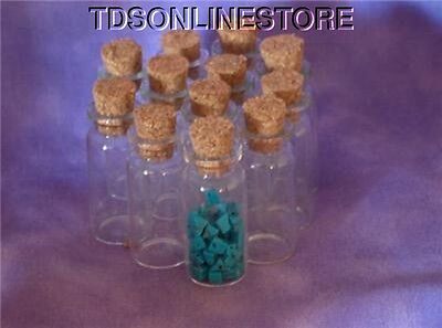 48 Glass Corked Bottles For Gem Storage Or Beads Etc.