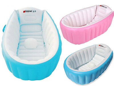 Inflatable Baby Kids Bath Travel Wash Tub Various Colours - Air Pump Optional