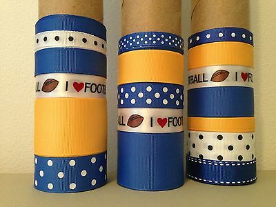 LOT OF 18 YDS. OF GROSGRAIN RIBBON - ROYAL BLUE / LT. GOLD / FOOTBALL  -  B0570
